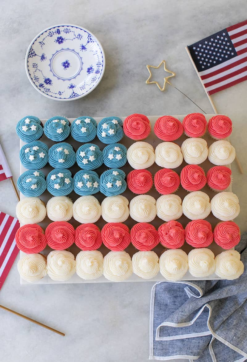 4th of July cake made with mini red, white and blue cupcakes.
