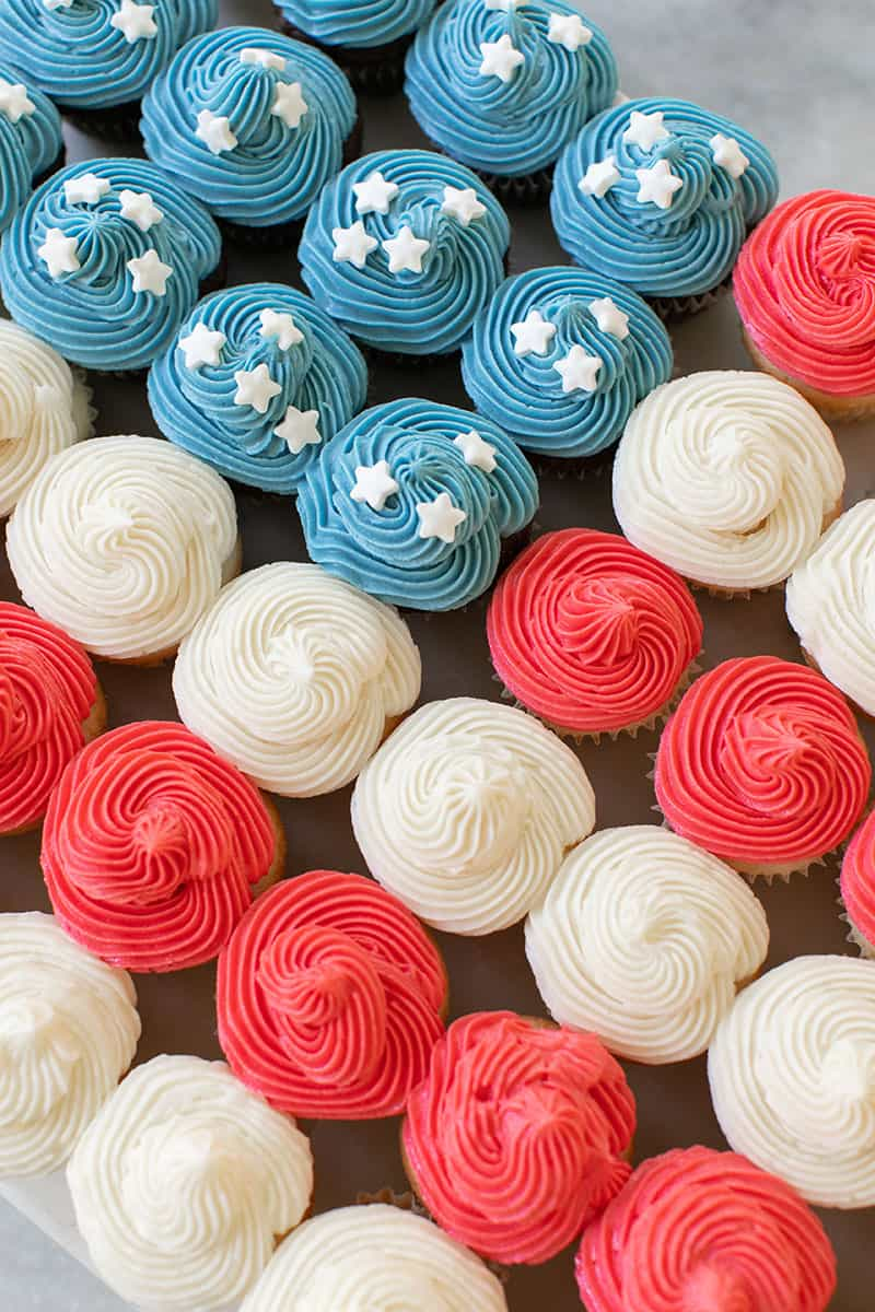 4th of July Cupcake Cake with blue and red frosting and white star sprinkles