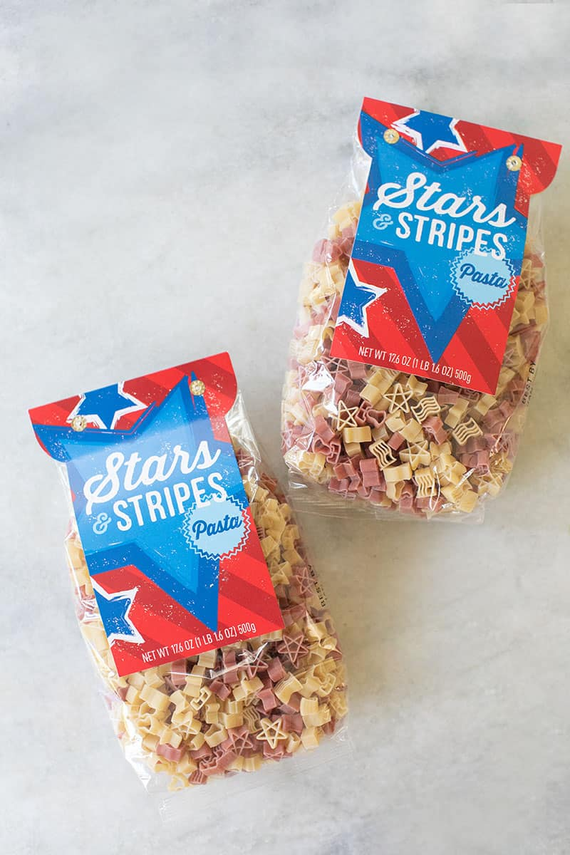Stars and Stripes nag of pasta.