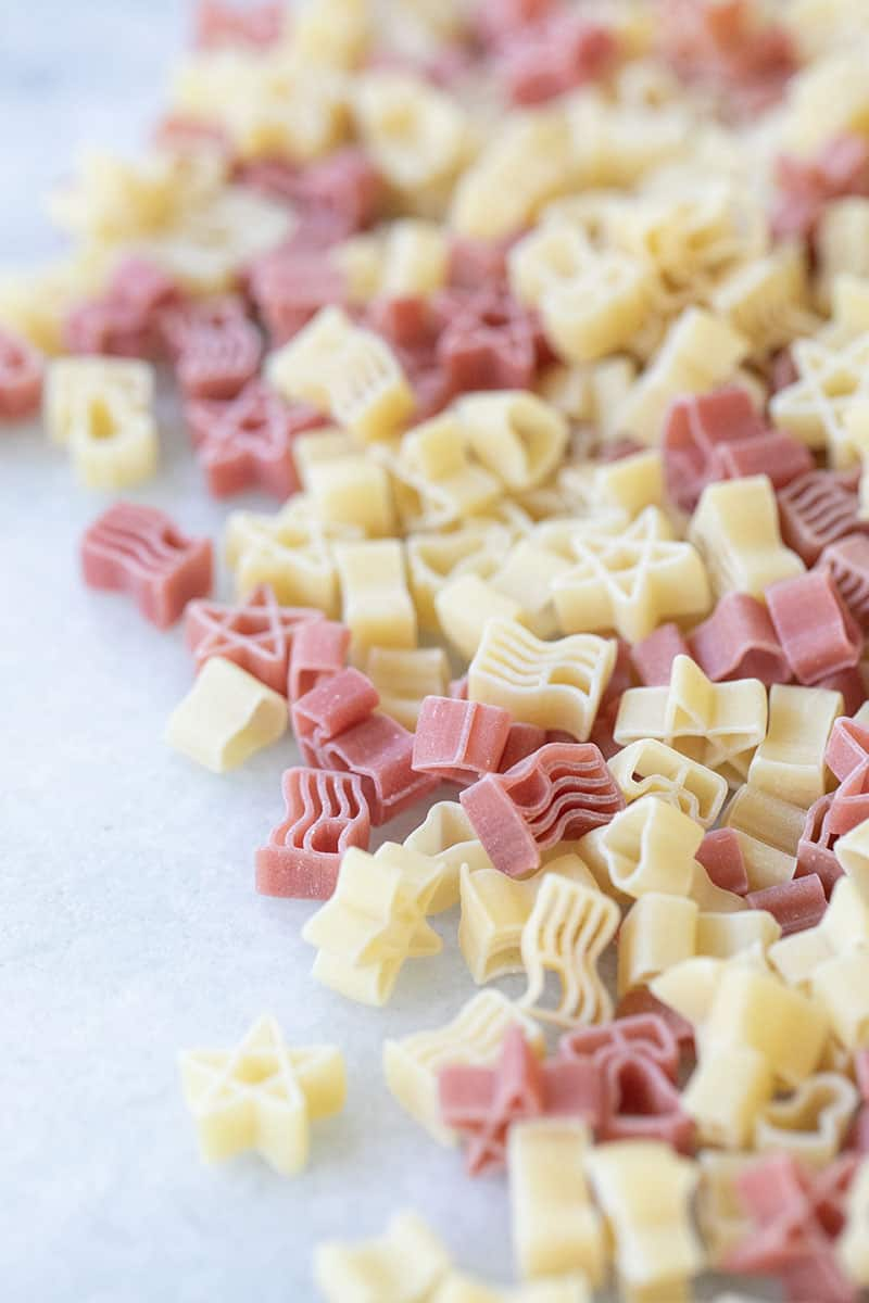 Red and White stars shaped pasta.