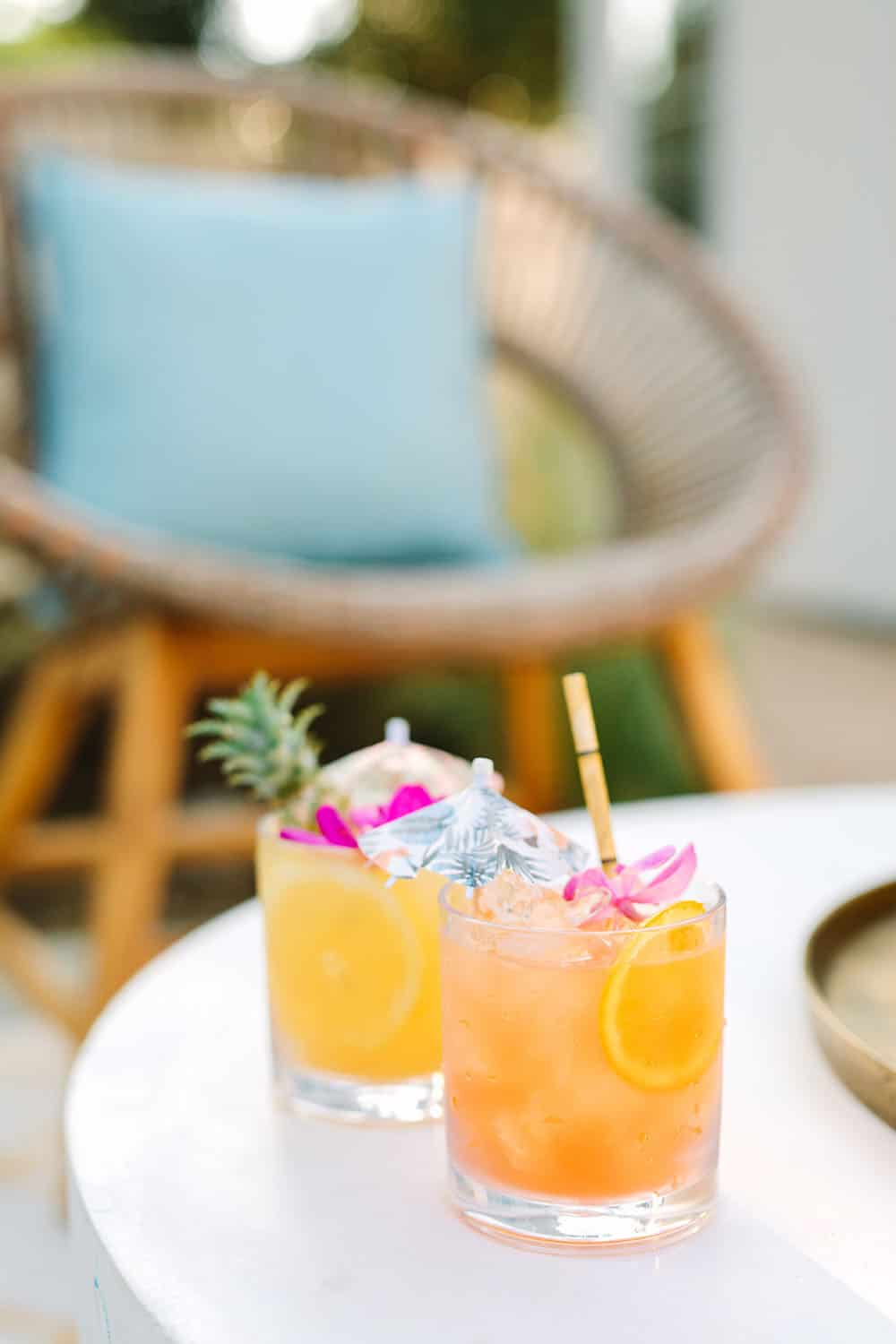 Tropical cocktails from Williams Sonoma for a tropical outdoor backyard party.