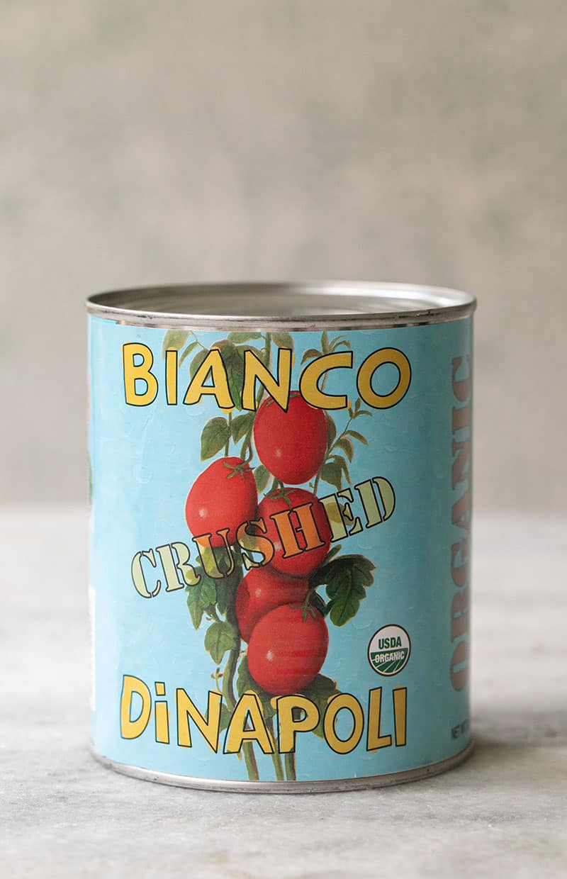 Crushed can of Bianco tomatoes.