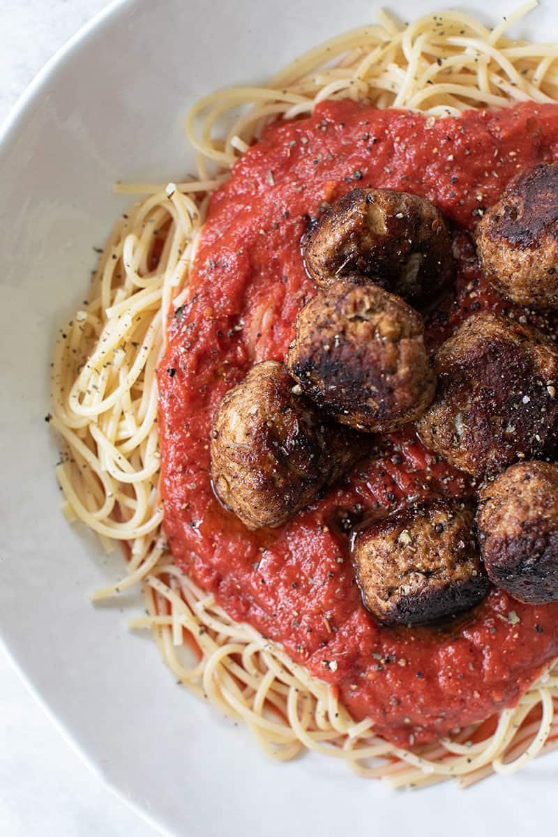 Meatballs in a homemade red sauce.