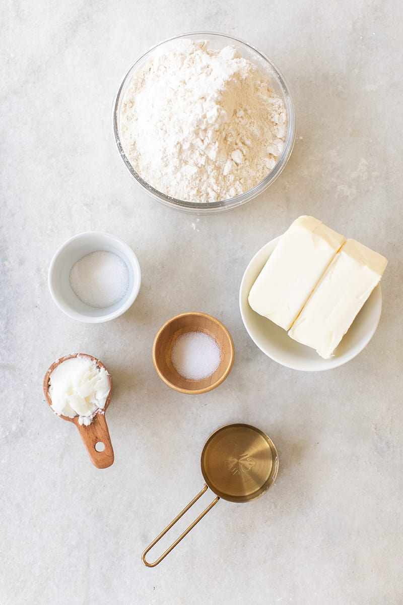 Butter, flour, salt, sugar and ice water.