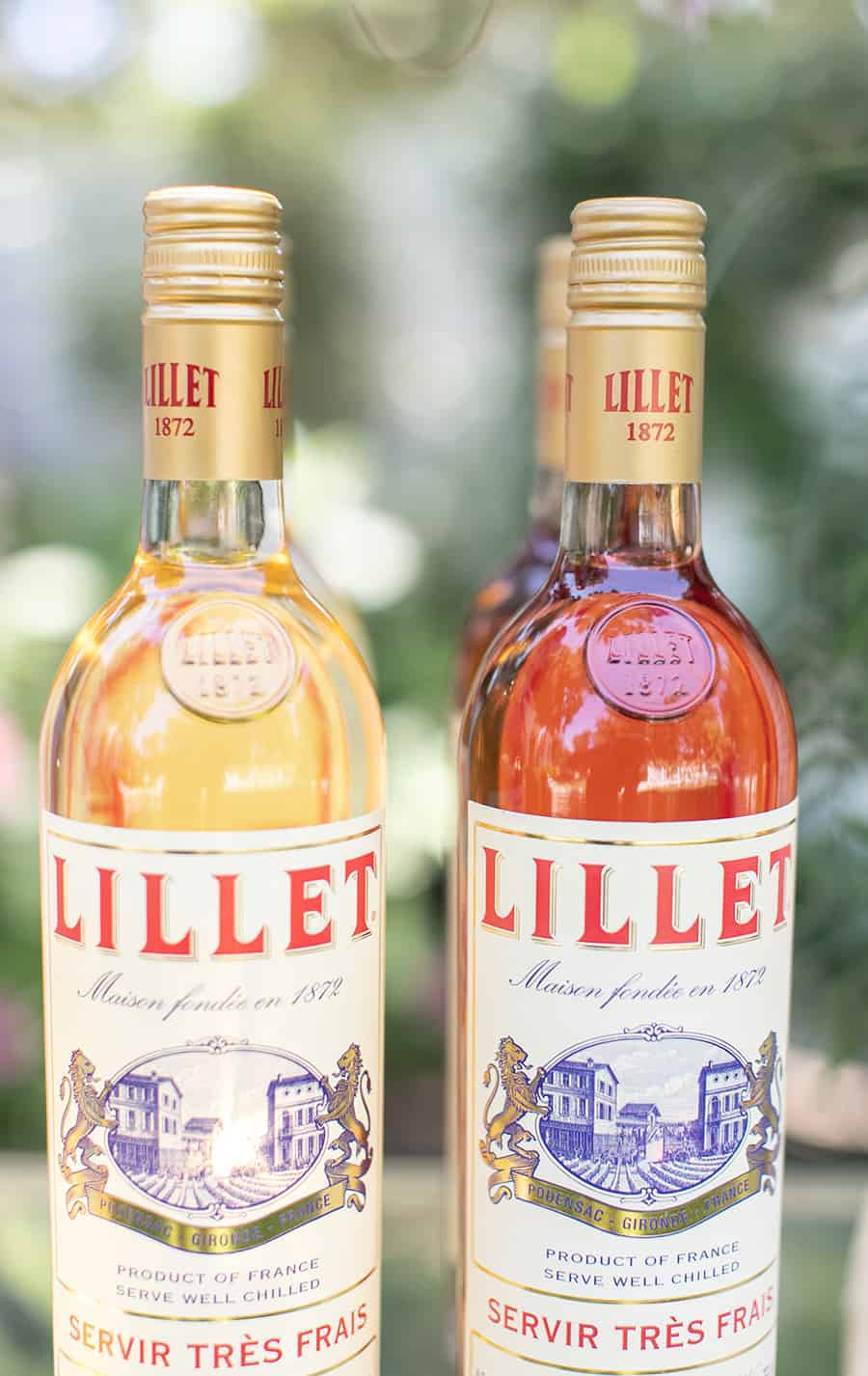 Bottles on Lillet on Bar cart