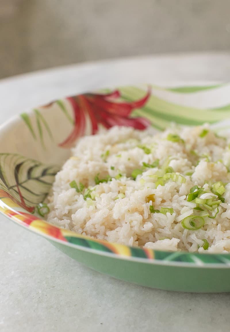 Coconut rice in tropical bowl.