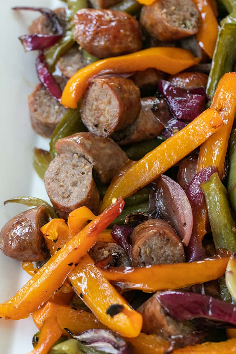 Sausage and Peppers cooked, served on a platter.