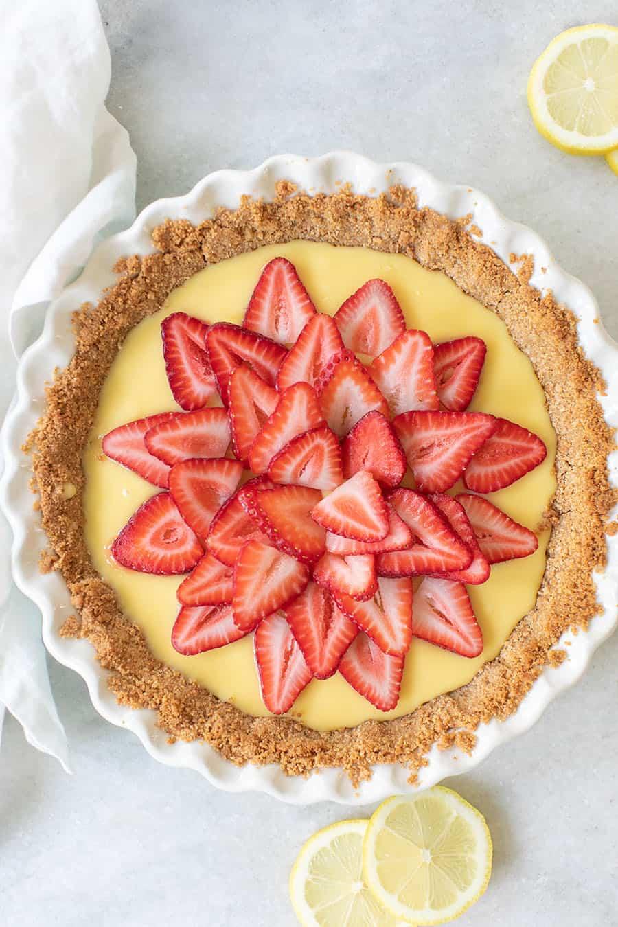 Over head of a strawberry lemonade pie.