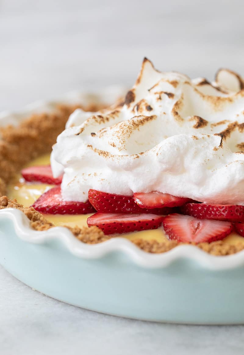 Strawberry pie with toasted meringue on top.
