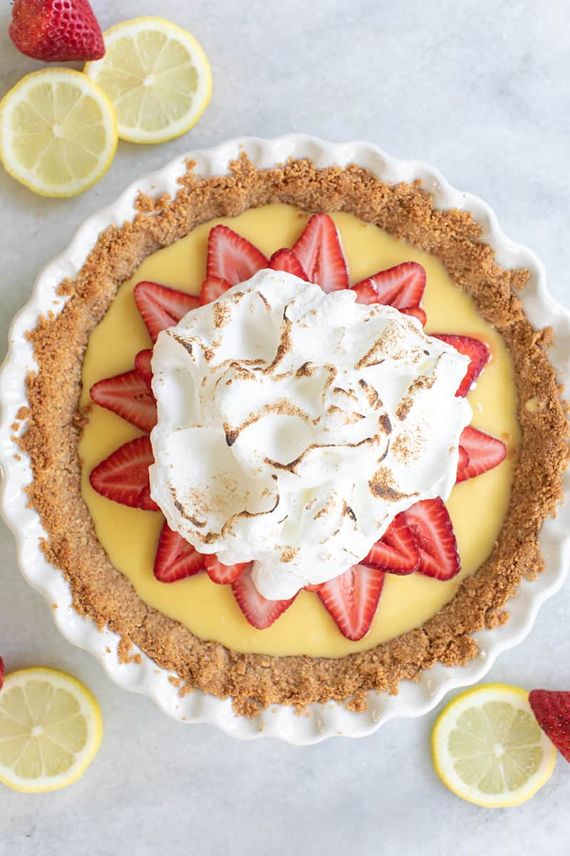 Strawberry lemonade pie with toasted meringue on top.