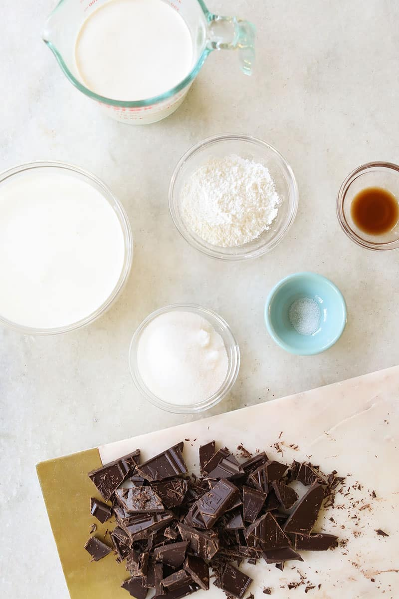 Ingredients to make homemade chocolate pudding for Halloween Dirt Cups.