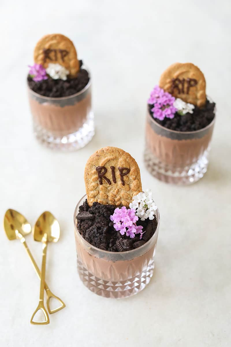 Three adorable Halloween dirt cups