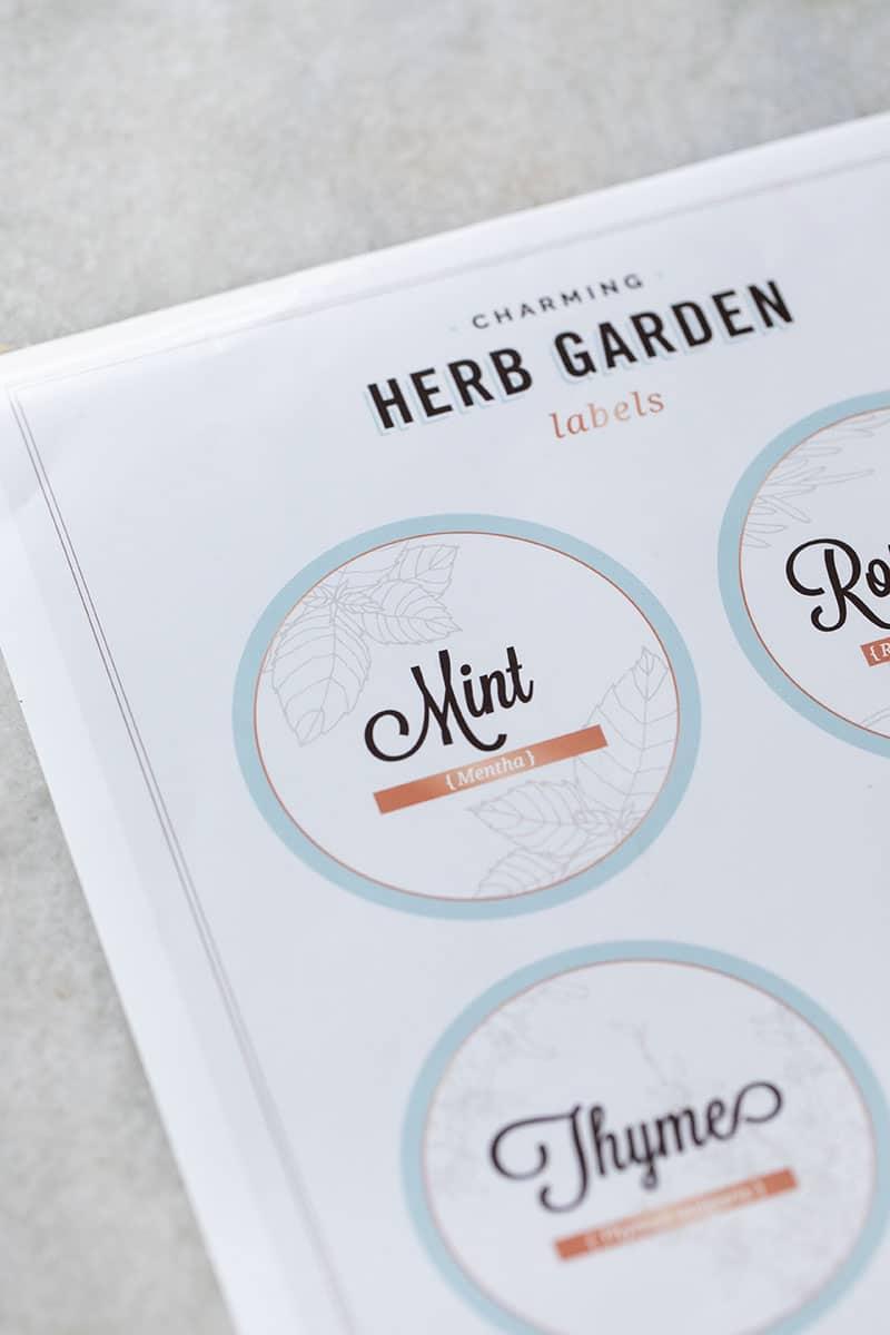 Free herb garden labels