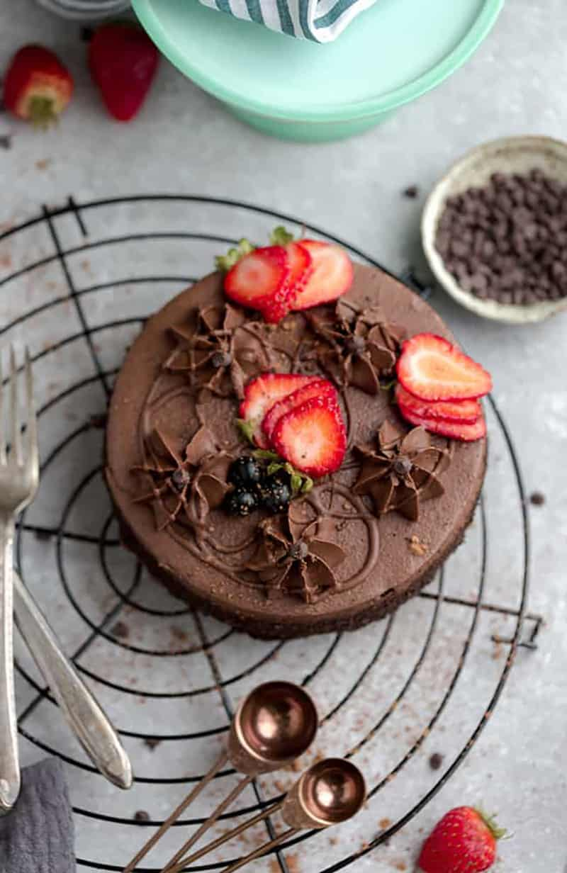 Chocolate Keto cake with strawberries