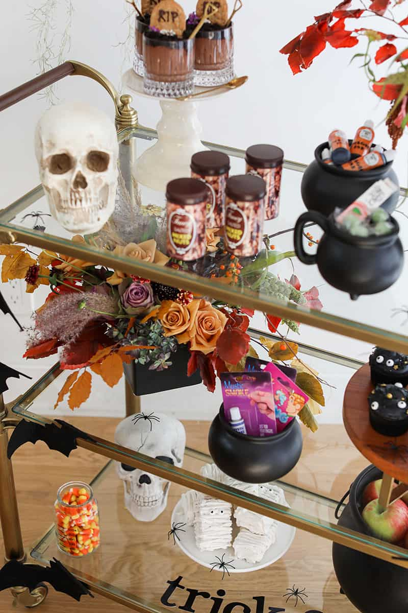 Halloween party bar with fake peanuts, chocolate puddings, flowers and a skeleton