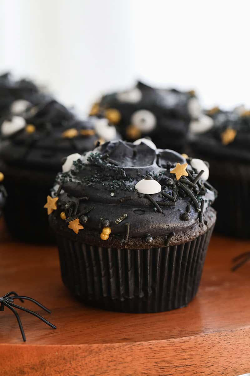 Black velvet cupcakes with spooky sprinkles.