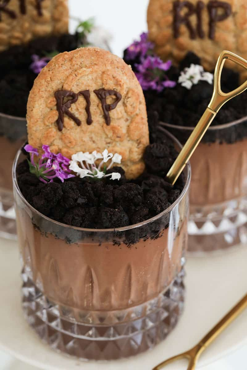RIP dirt cups with gold shovel spoon.