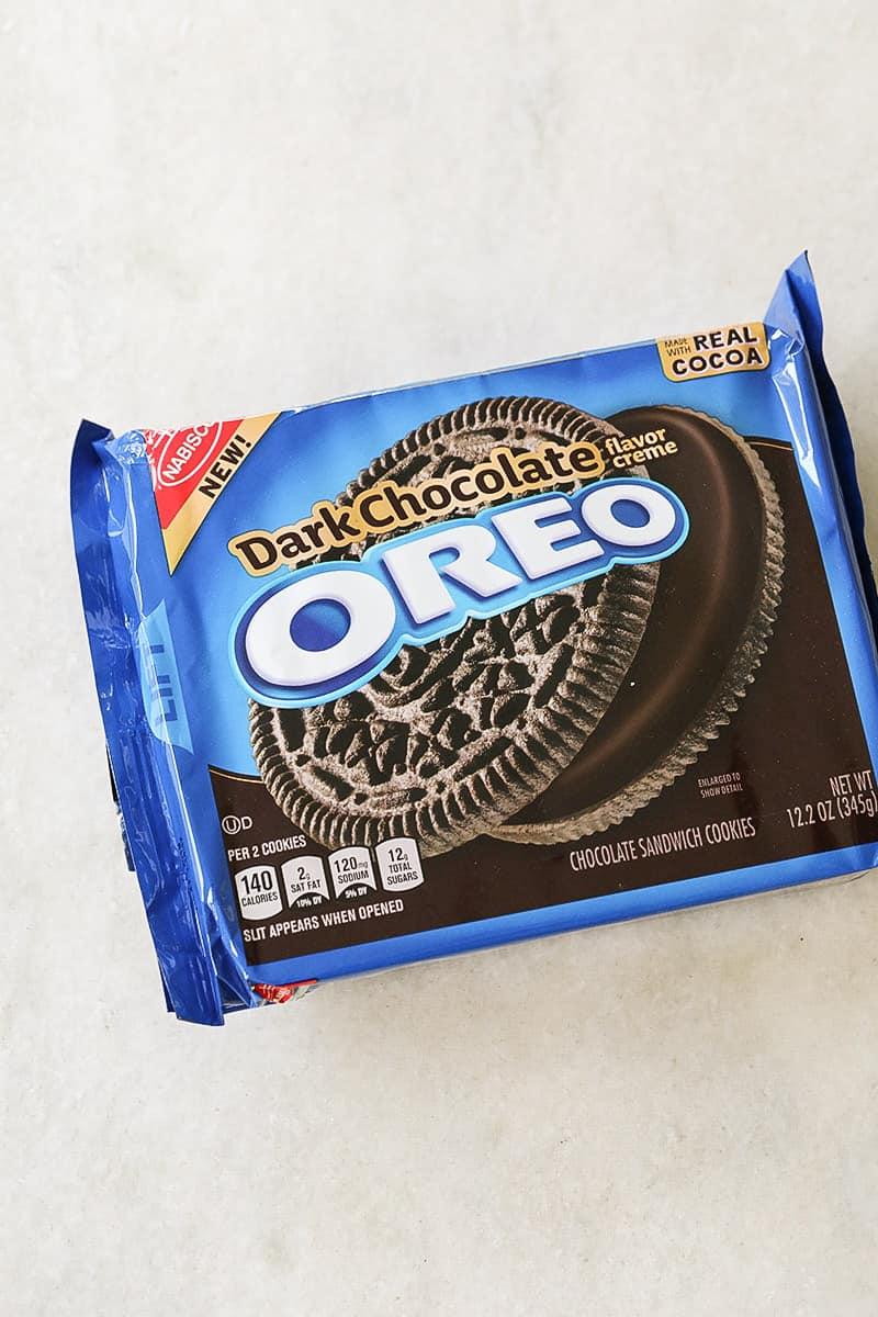 Package or dark chocolate Oreos.