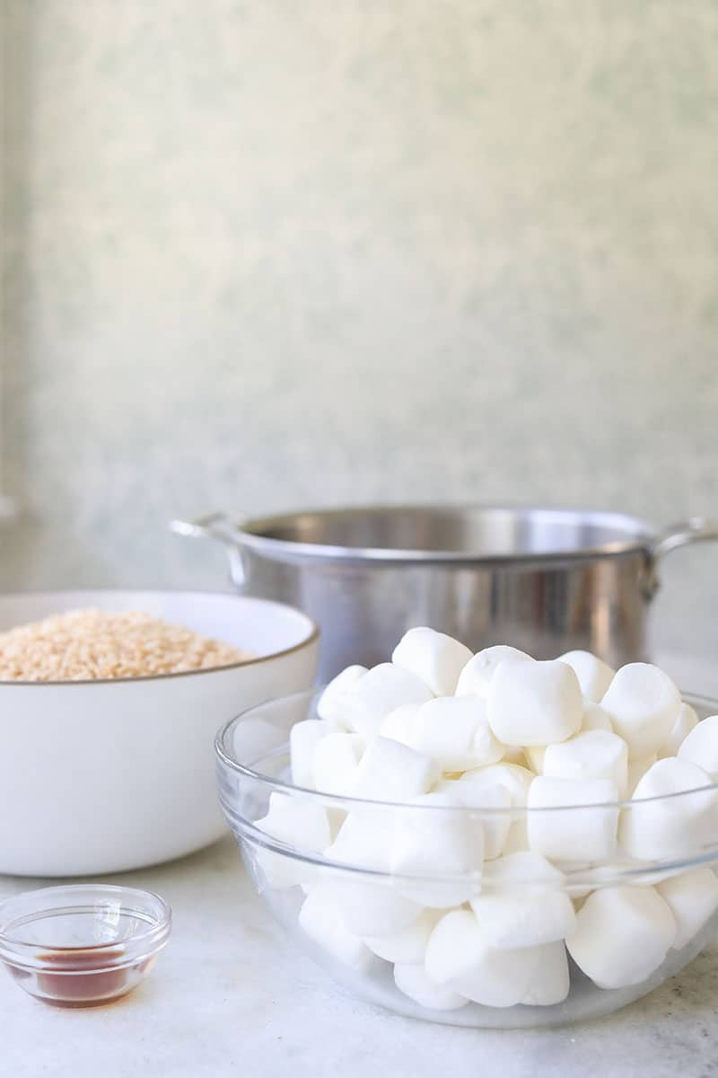 bowl of marshmallows for making rice Krispie treats.