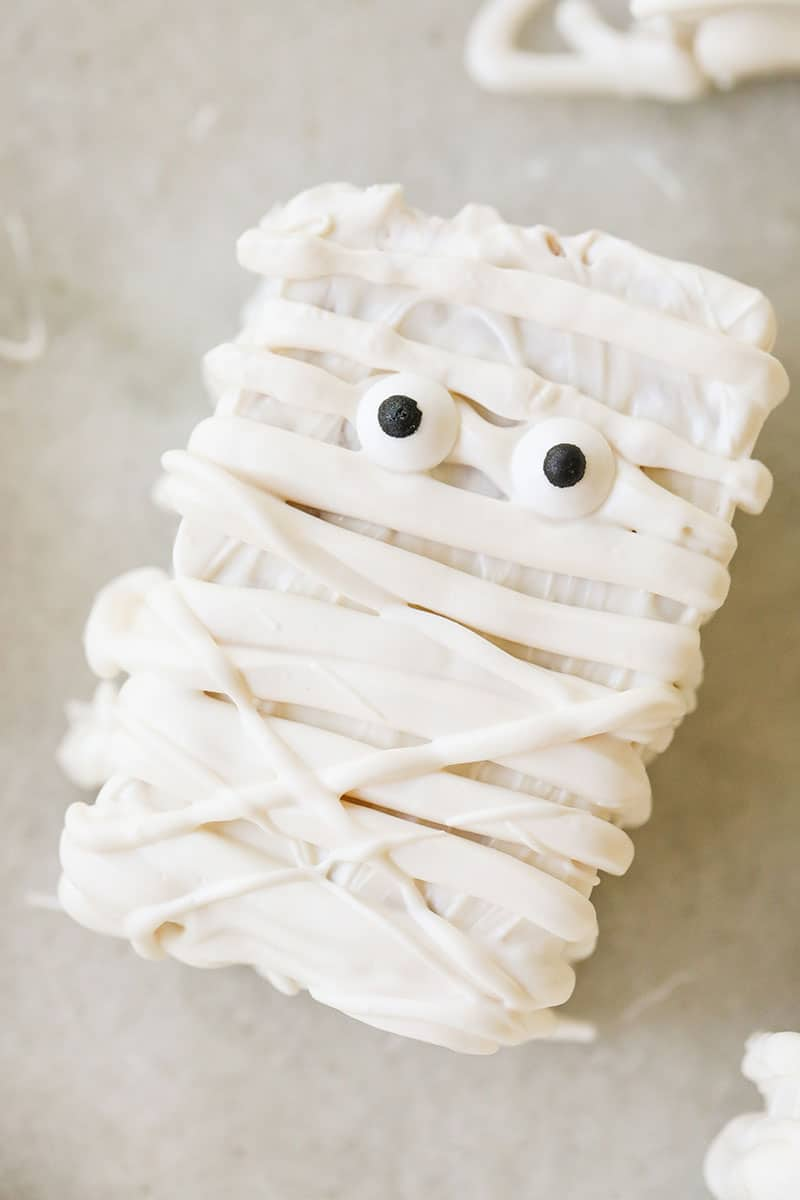 White chocolate rice Krispie treat with eyes.