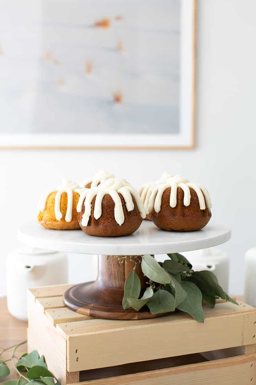 Mini bundt cakes on cake stand