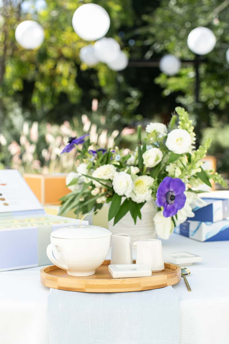 Tea set and flowers for a bridal shower
