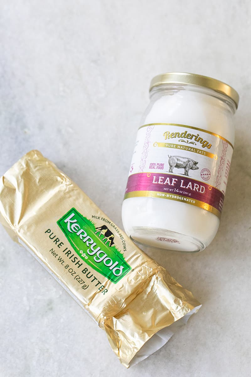 Butter and leaf lard for making pie crust.