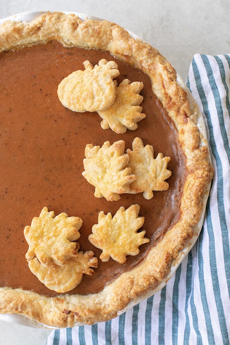 Classic pumpkin pie with buttery pie crust cutouts.