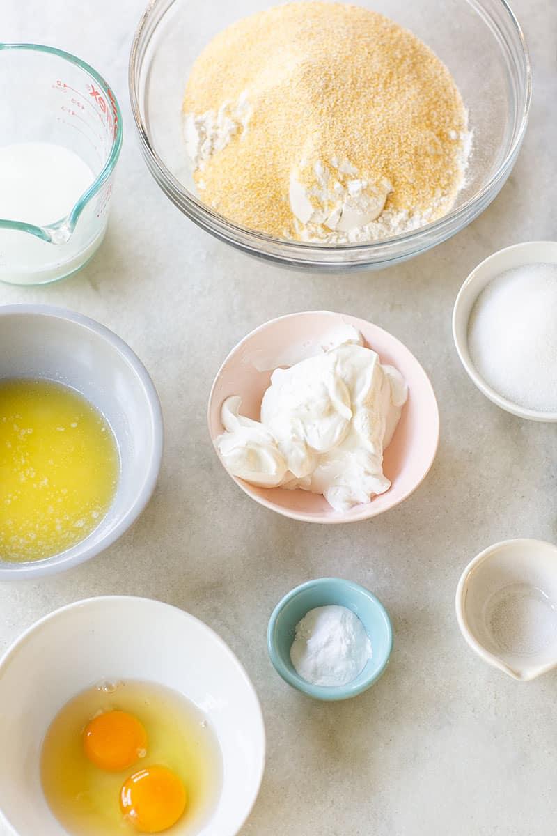 Ingredients to make cornbread muffins.
