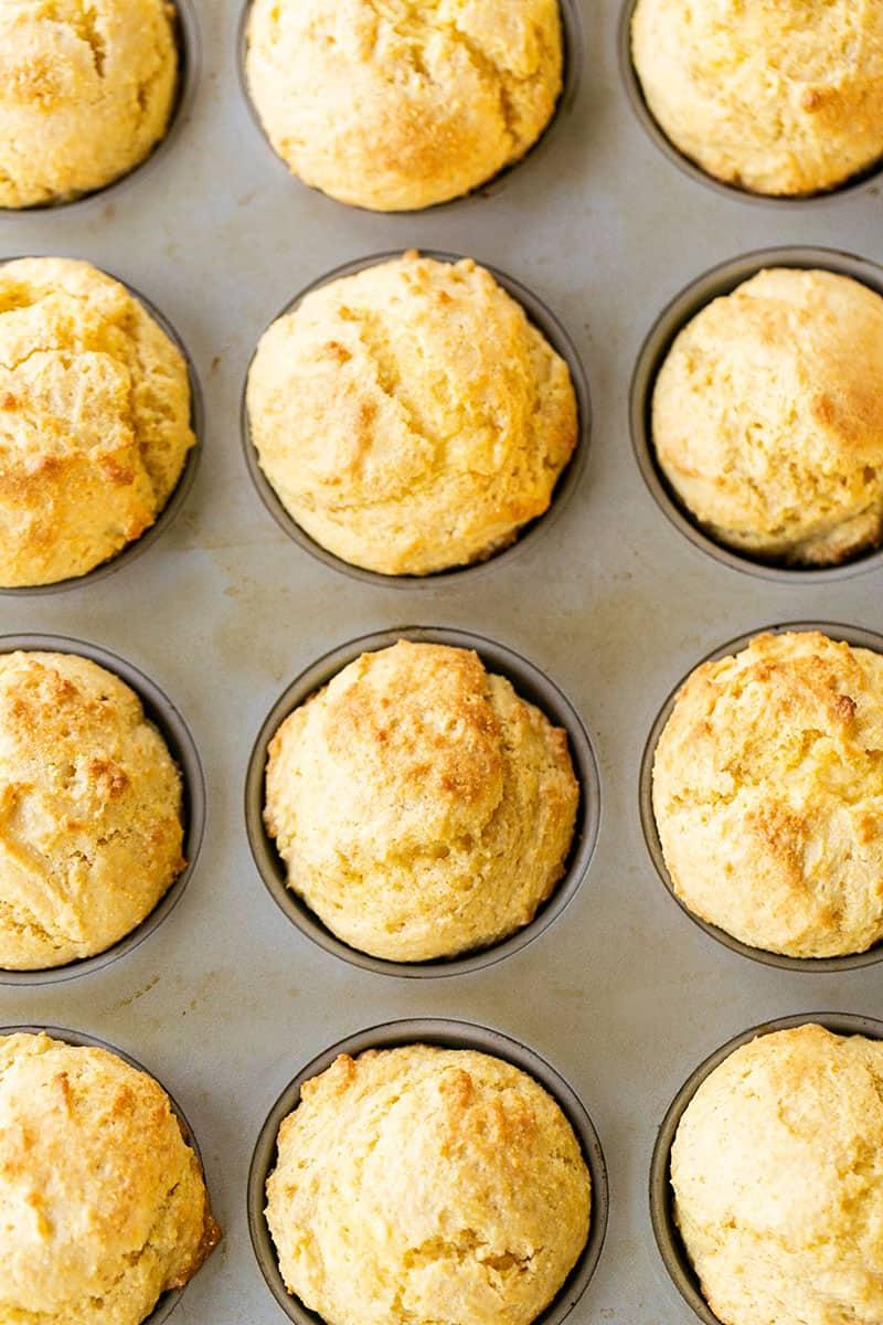 Easy cornbread muffins in a muffin tin.