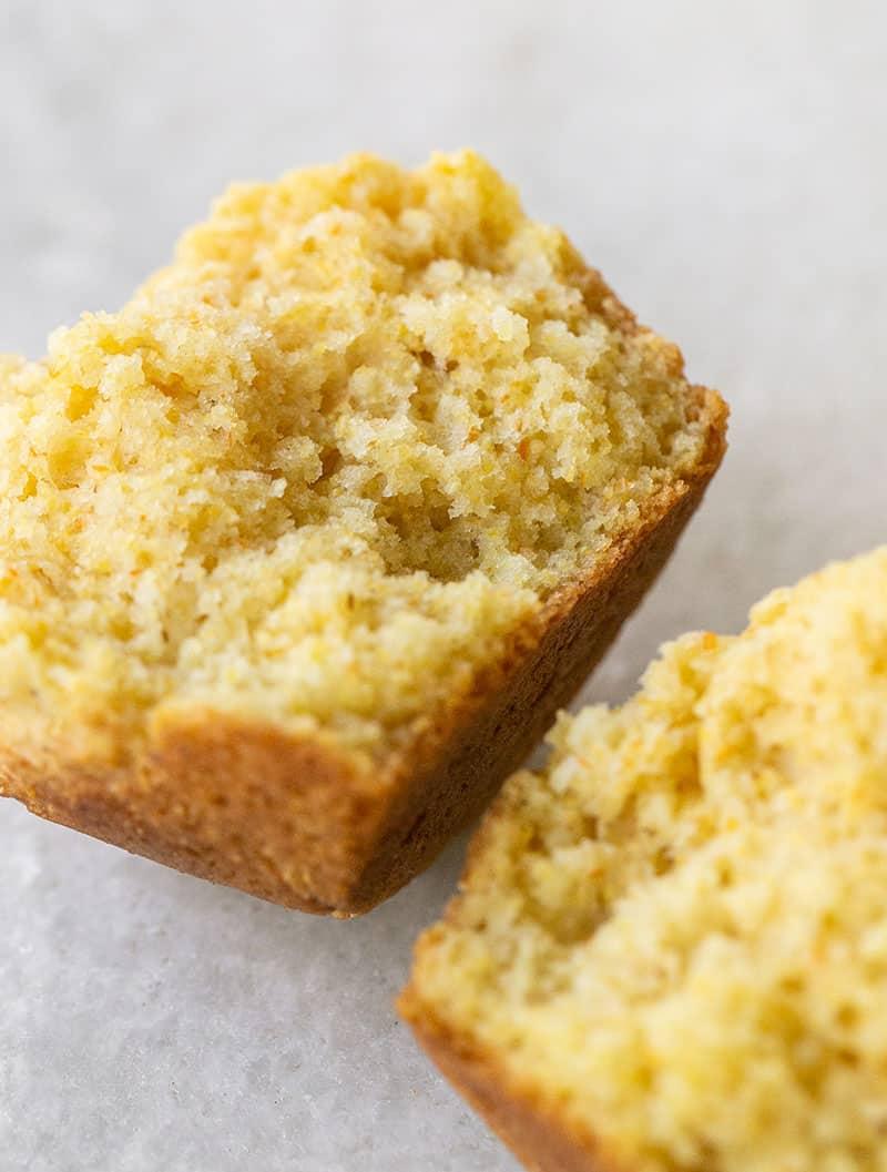Cornbread muffin cut in half.