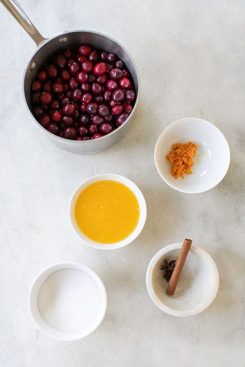 Ingredients to make homemade cranberry sauce.