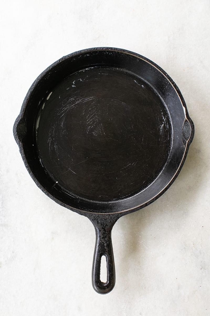 Buttered cast-iron skillet