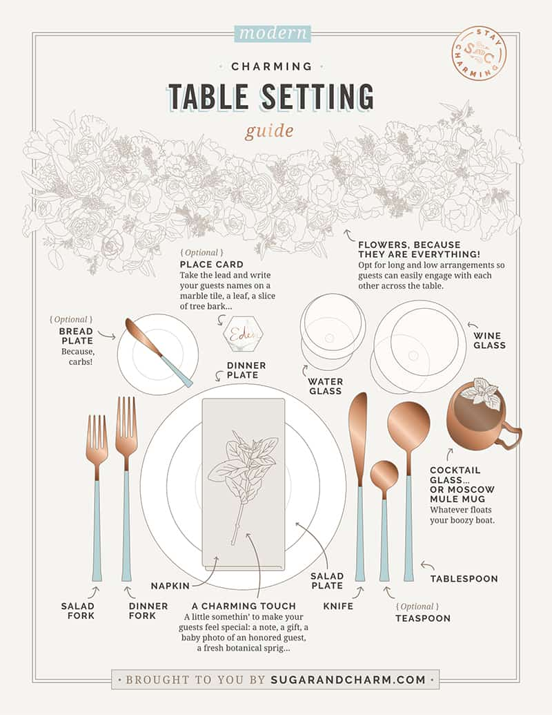 A graphic illustration for setting a modern table setting.