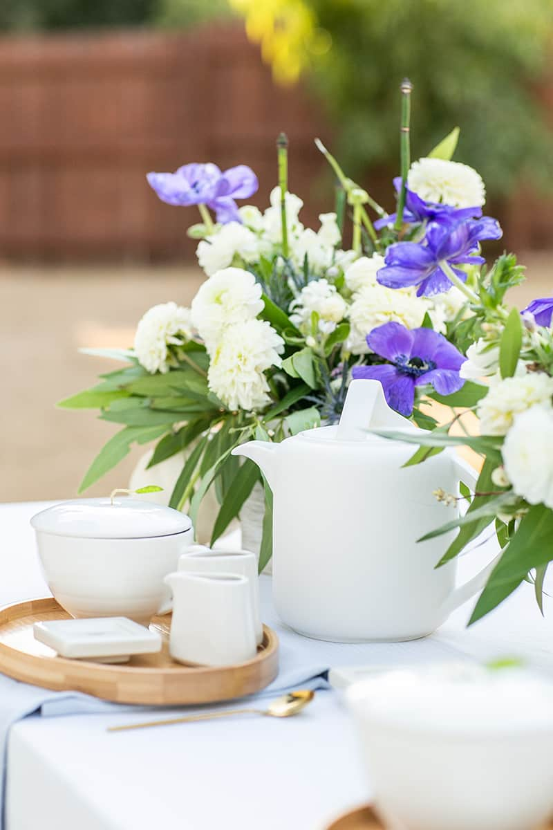 Tea set with a tea kettle and flowers