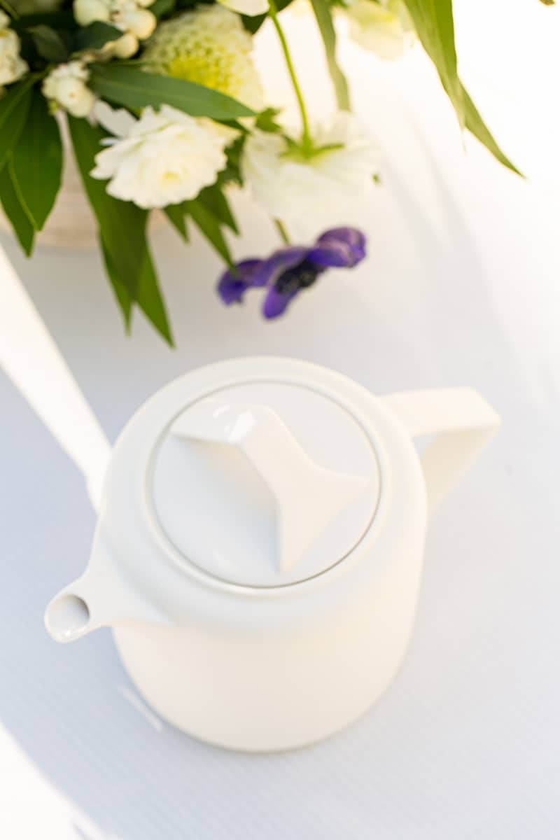 Modern white tea kettle