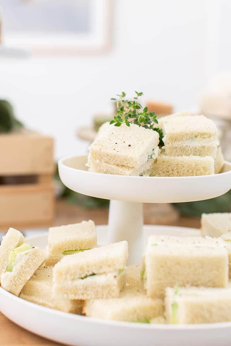 Tea party sandwiches on a modern platter