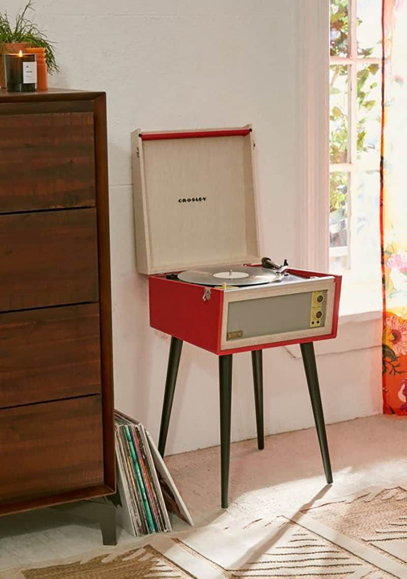 Red crossly record player for Christmas music.