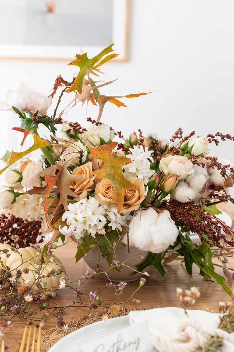 Fall flower arrangement for Thanksgiving.