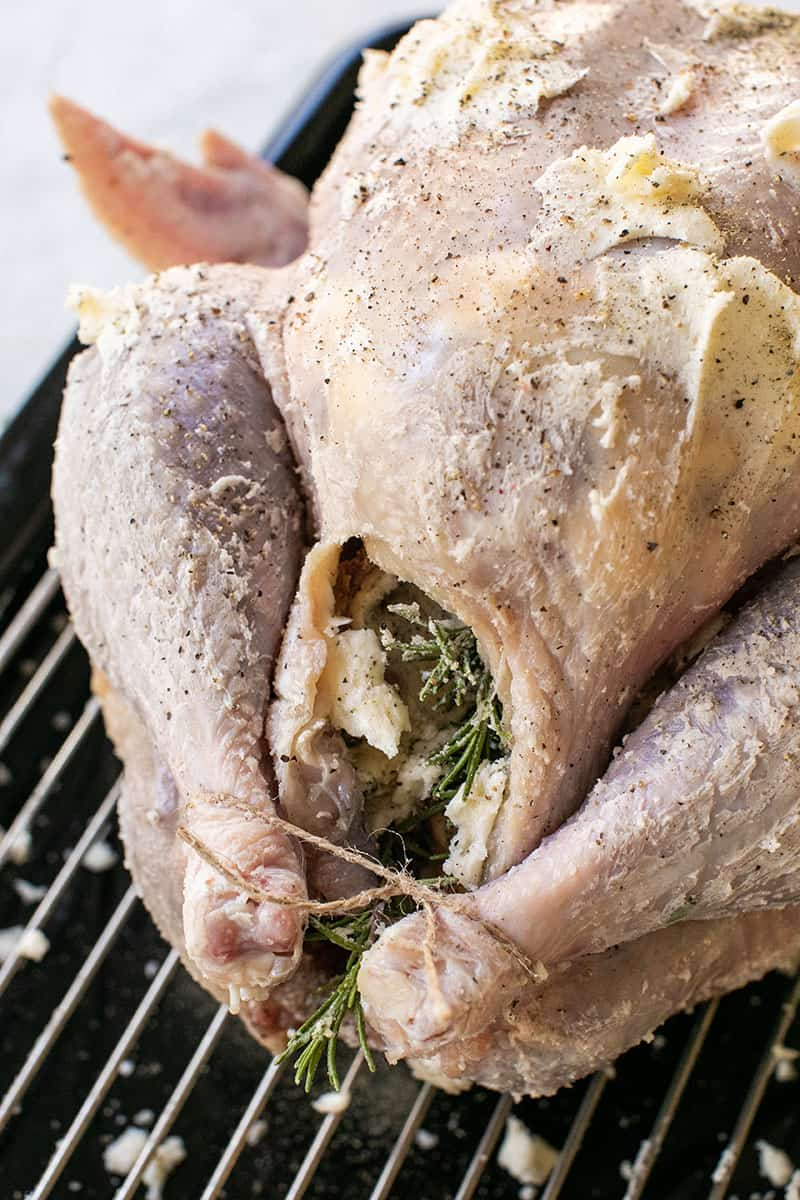 An uncooked turkey rubbed with butter and stuffed with onions, apples, rosemary and tied with twine.