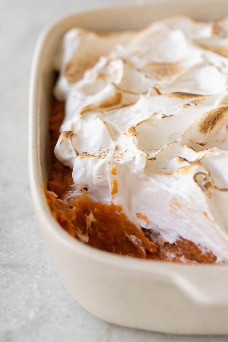 Sweet potato casserole with marshmallow fluff.