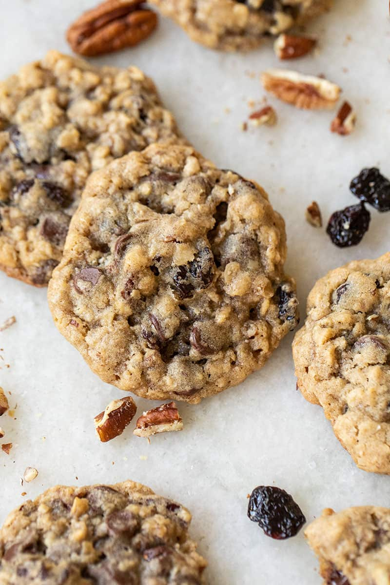Chocolate Chip Cookies with Cherries, pecans and old fashioned oats.