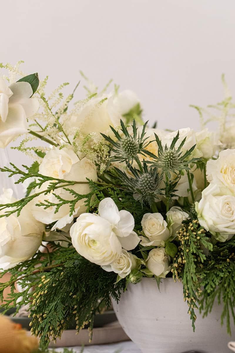 White and Green winter flower arrangement