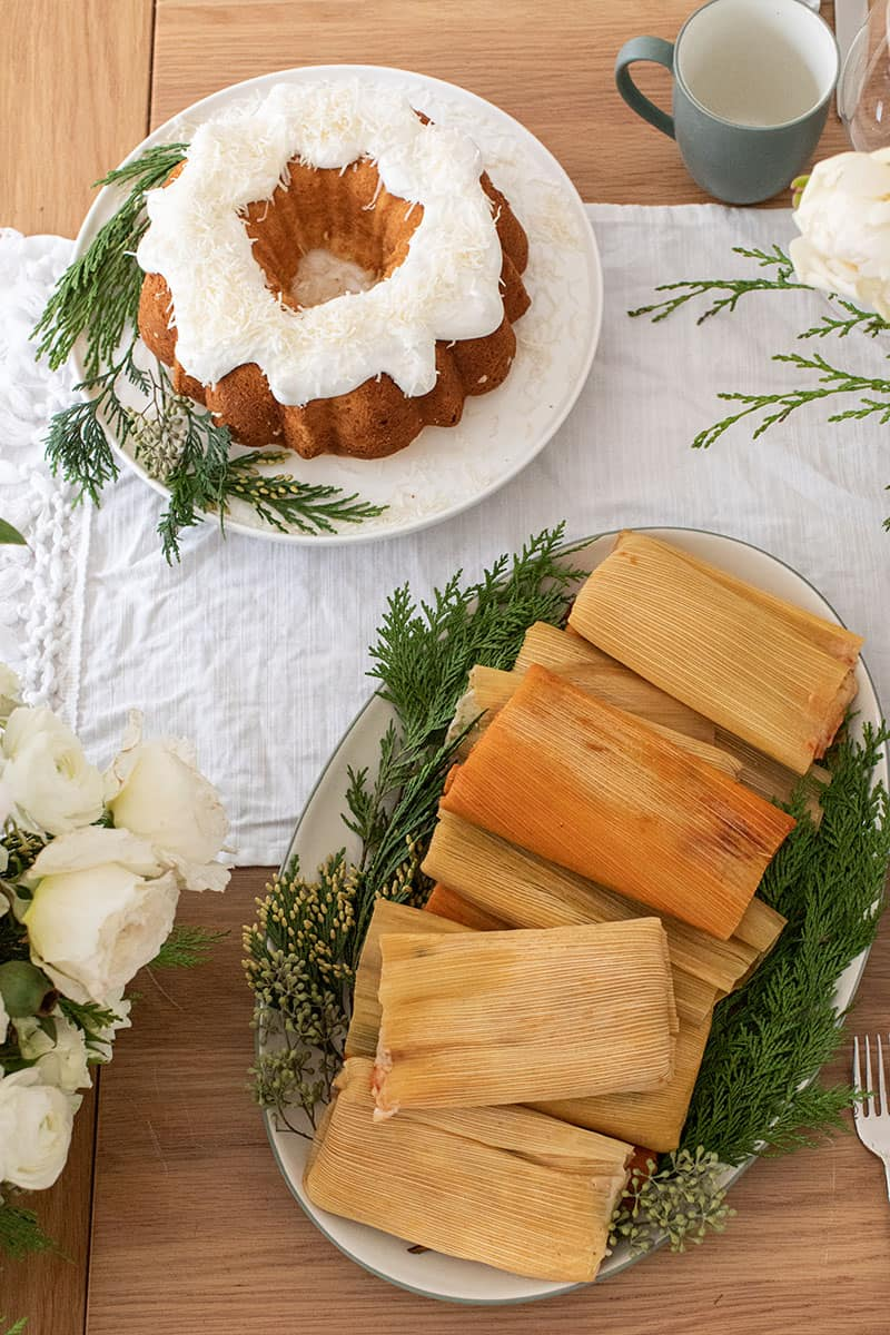 Tamales and coconut cake for Christmas Even dinner.