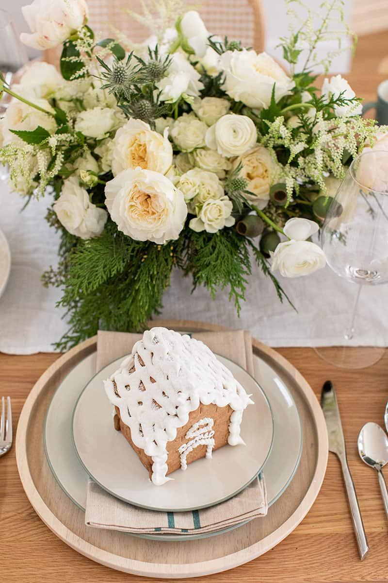White and green flower arrangement for Christmas Eve Dinner.