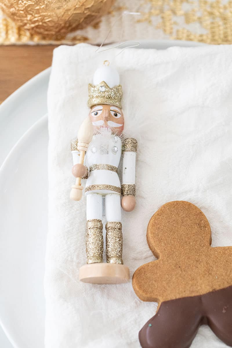 Nutcracker on a white napkin.