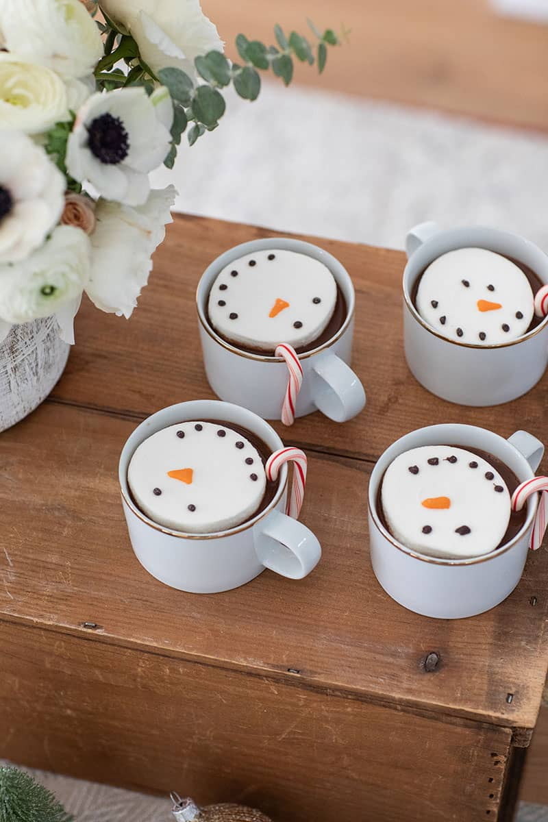 Marshmallow snowmen in hot coco.