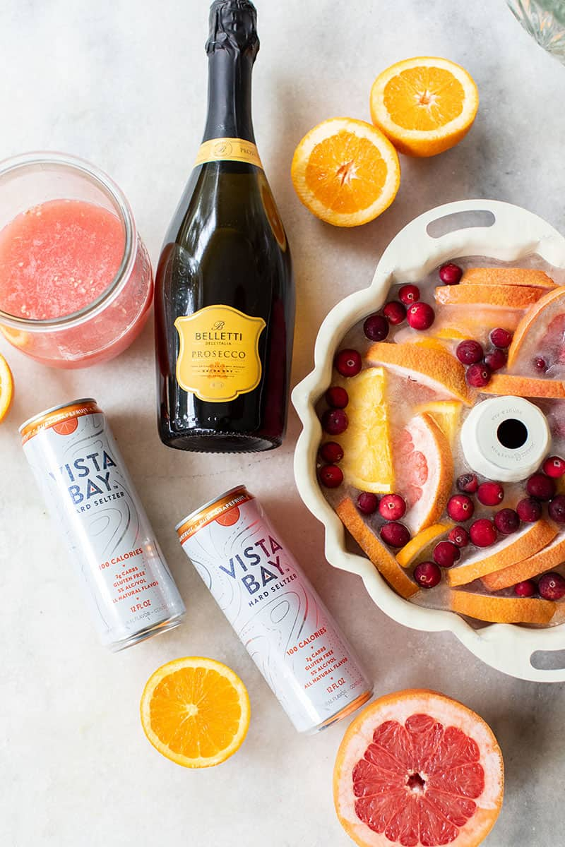 Prosecco, Vista Bay, Grapefruit and oranges slices with an ice ring to make a citrus holiday punch.