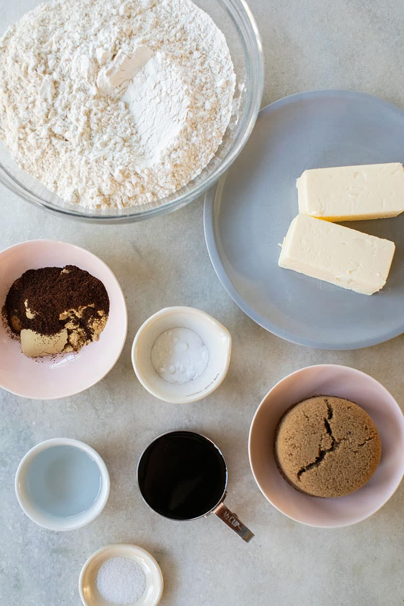 Ingredients to make gingerbread from scratch