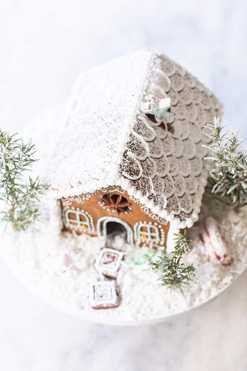 Snowy gingerbread house roof.